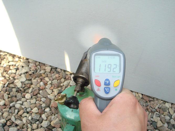Замер температуры плиты Суперизол со стороны нагрева