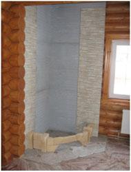 Монтаж нижнего ряда облицовки камина